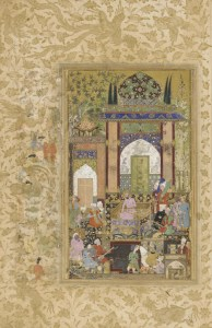 Here Babur is seen with a bounty of melons before him