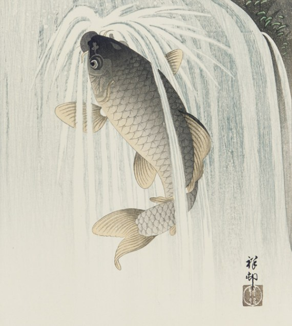 Carp ascending a waterfall;Ohara Koson (Japanese, 1877–1945), Japan, ca. 1926; ink and color on paper; F2002.15