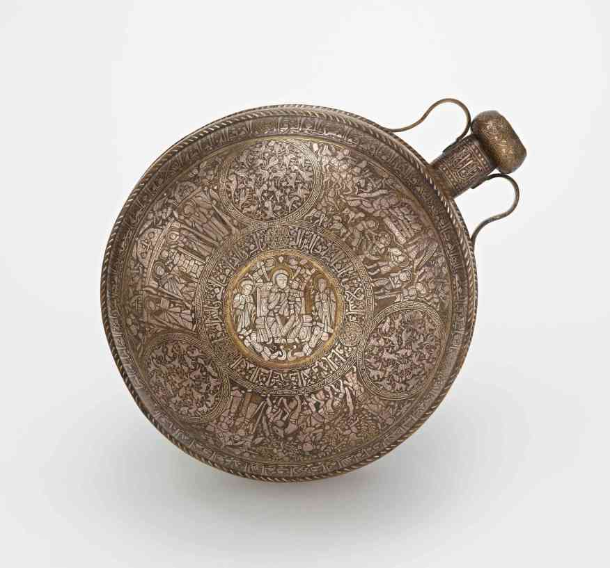 Canteen; Syria or Northern Iraq; Ayyubid period (1171–1250); brass, silver inlay; Purchase, F1941.10