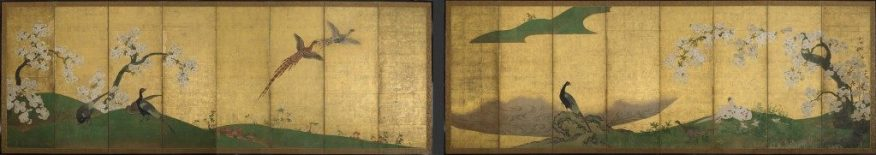 Pheasants and Cherry Trees; Japan, Momoyama period, first quarter of the 17th century; ink, color, and gold on paper; Purchase, F2006.3.1–2
