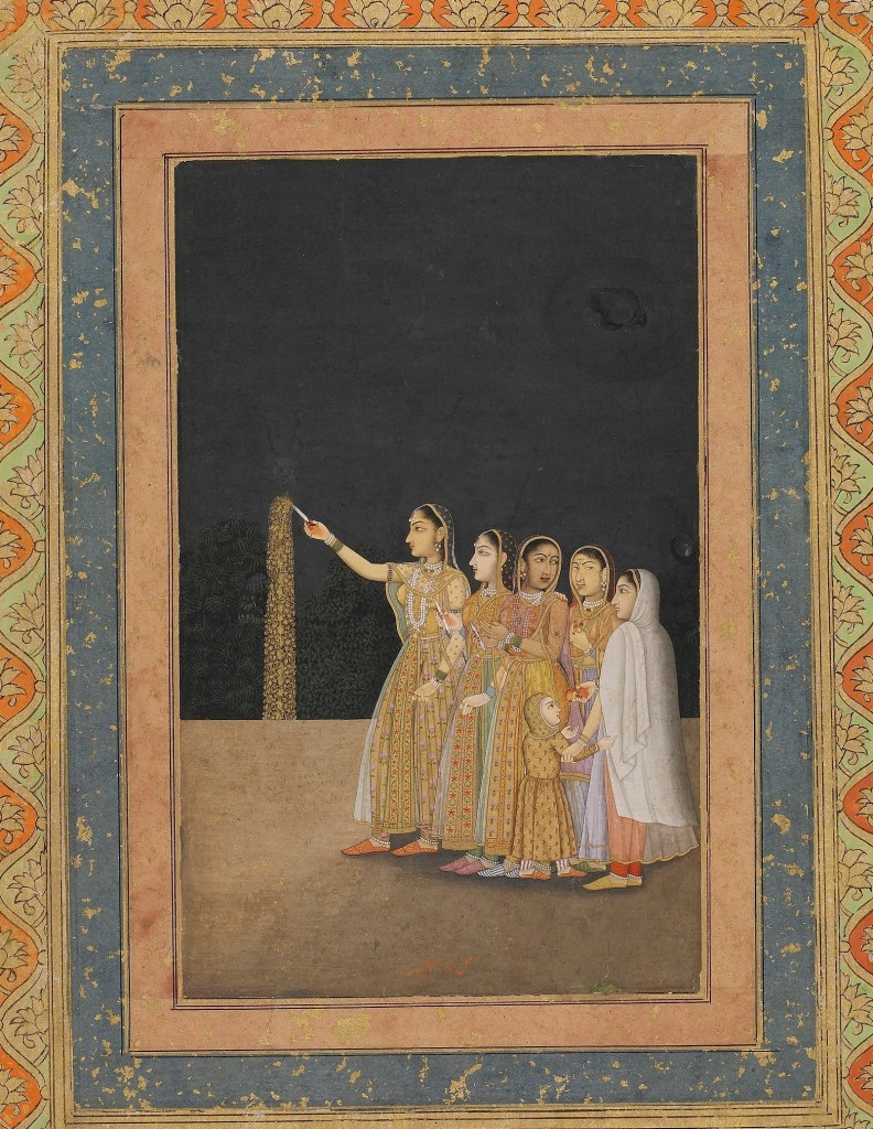 Court Ladies Playing with Fireworks; Muhammad Afzal (act. 1740–80); Delhi, Haryana, India, Mughal dynasty, ca. 1740; color and gold on paper;  Purchase, Freer Gallery of Art