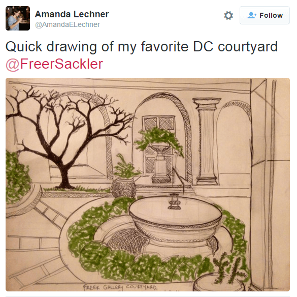 """Instagram post of a sketch of the Freer Courtyard. """"Quick drawing of my favorite DC courtyard"""""""