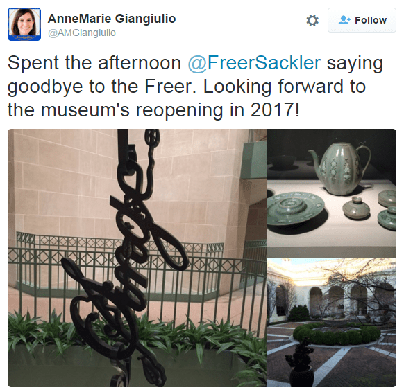 """Instagram collage of images from the Freer and Sackler. """"Spent the afternoon @FreerSackler saying goodbye to the Freer. Looking forward to the museum's reopening in 2017!"""""""