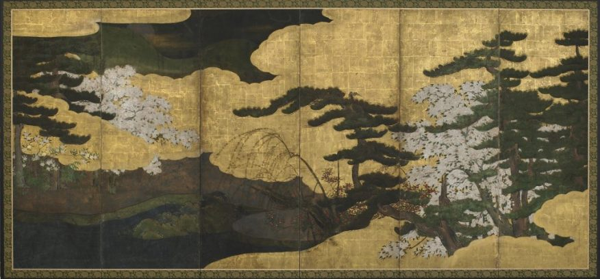 Spring landscape with blossoming cherries; Japan, Edo period, early 17th century; six-panel screen, ink, color, and gold on paper; Gift of Mrs. Garnet Hulings, F1984.39