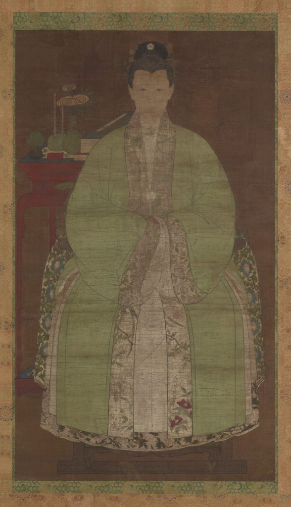 Portrait of a woman in green; China, possibly Ming dynasty, 17th century?; ink and color on silk; Gift of Charles Lang Freer, F1916.186