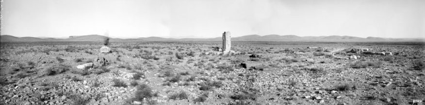 Gate R: panoramic view prior to excavation; Ernst Herzfeld; Iran, 1905–28; digitally assembled from three glass plate negatives; Ernst Herzfeld Papers, FSA A.6 04.GN.2199, 2201, 2202