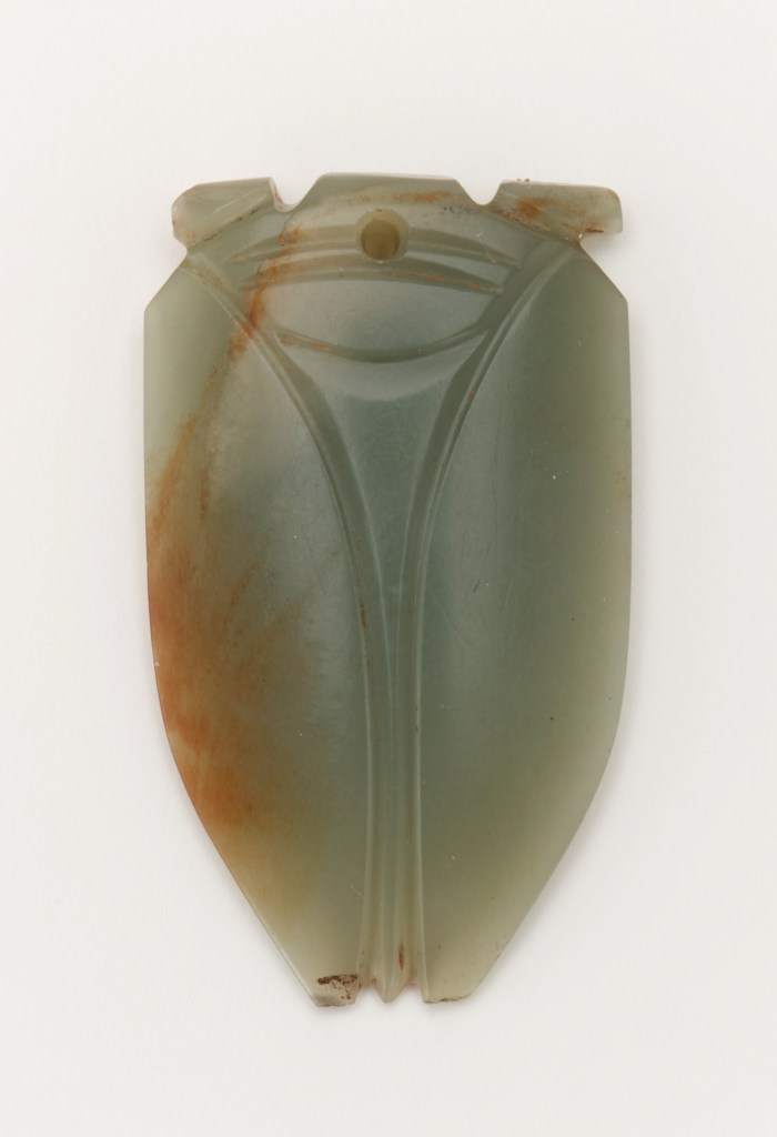 Tongue amulet in the form of a cicada (hanchan); China, Han dynasty, 1st century BCE–1st century CE; jade; Gift of Arthur M. Sackler, S1987.693