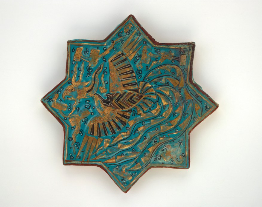 Star tile; Iran, probably Takht-i Sulayman, Il-Khanid period, 1270s; stone-paste painted under and over turquoise (copper-tinted) glaze, with gold leaf; Gift of Osborne and Gratia Hauge, S1997.114