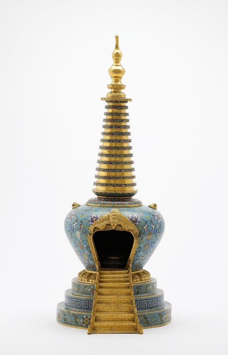An example of a stupa from our collections. This cloisonne stupa was made during the reign of China's Qianlong emperor (r. 1735–96).