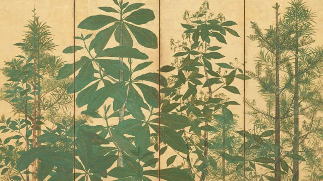 Detail from Trees, green foliage on a gold background