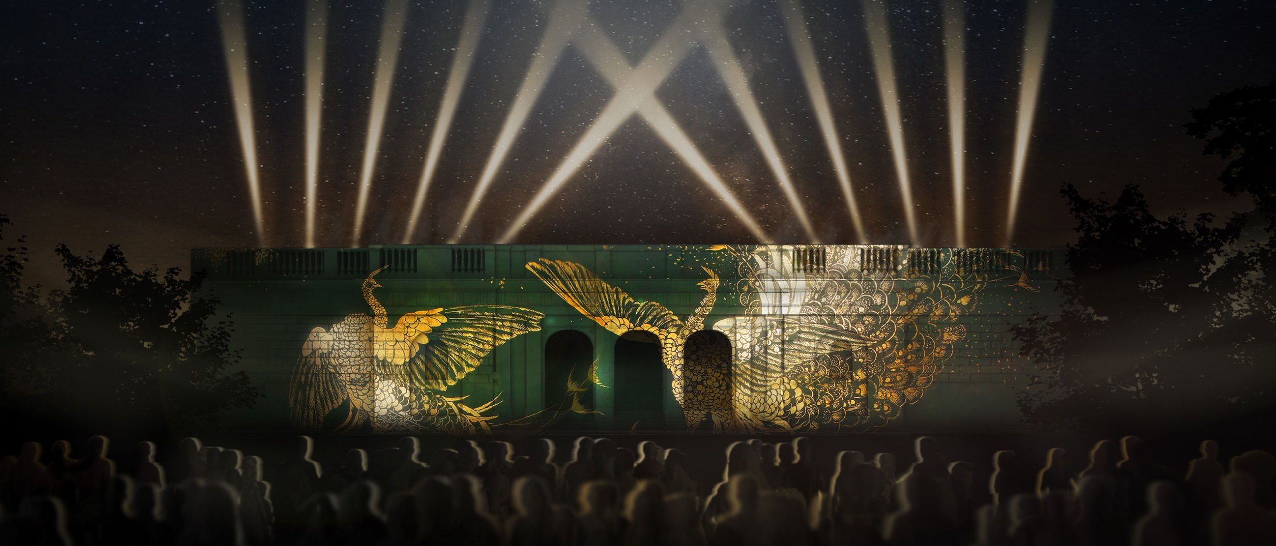 """Rendering of the Freer facade featuring """"A Perfect Harmony"""" - projection artwork"""