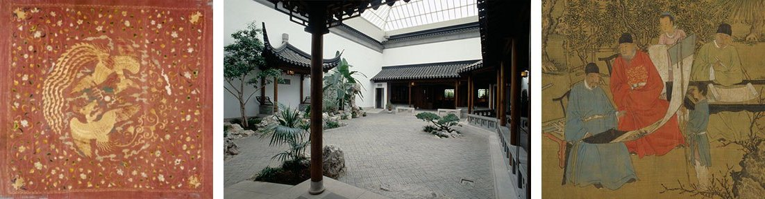 composite of three images. the one on the left is a painting of phoenixes and flowers, the center image is a photograph of a zen garden in the Met, and the third is a handscroll depicting five people in a garden