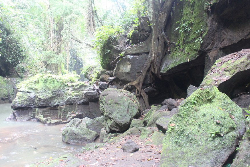 Caves along jungle path from Goa Gajah to Yeh Pulu