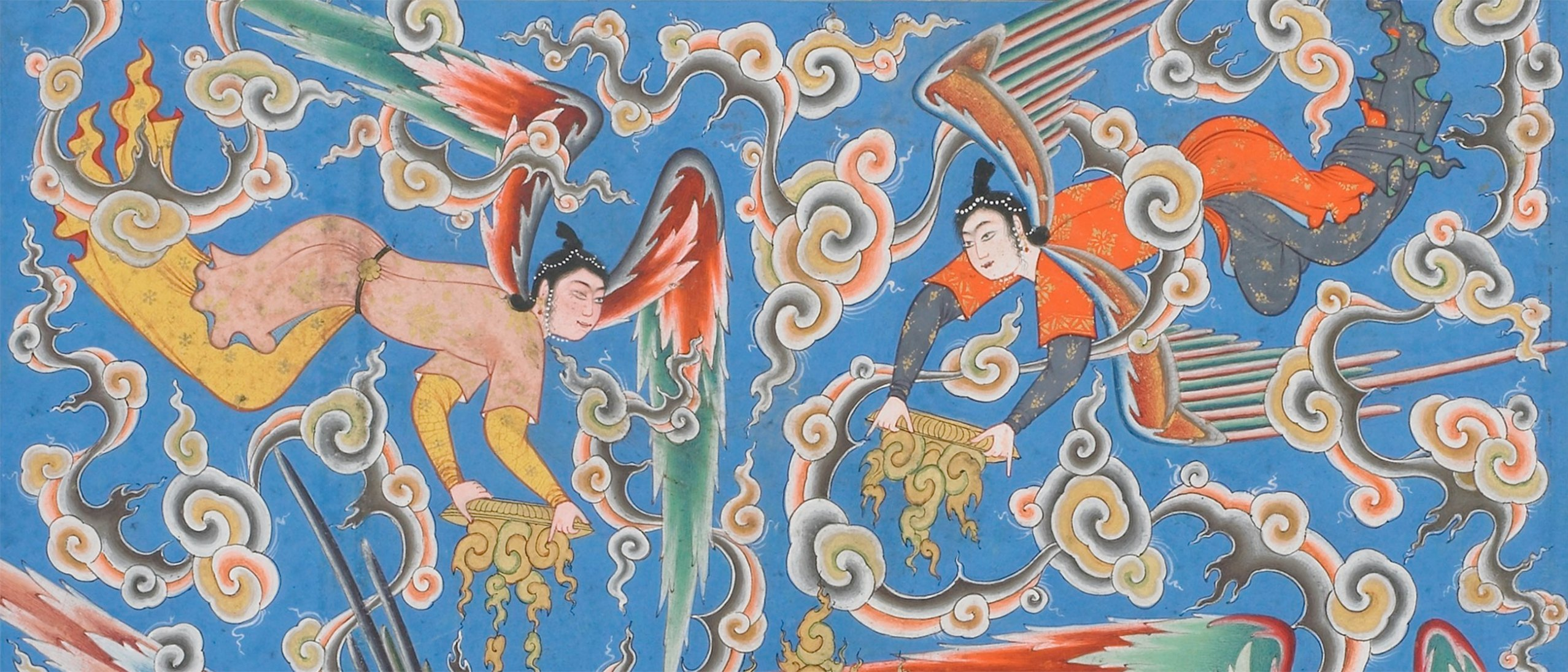 Detail of folio from the Haftawrang: two angels in brightly colored robes among intricately swirling clouds, holding flaming golden disks.