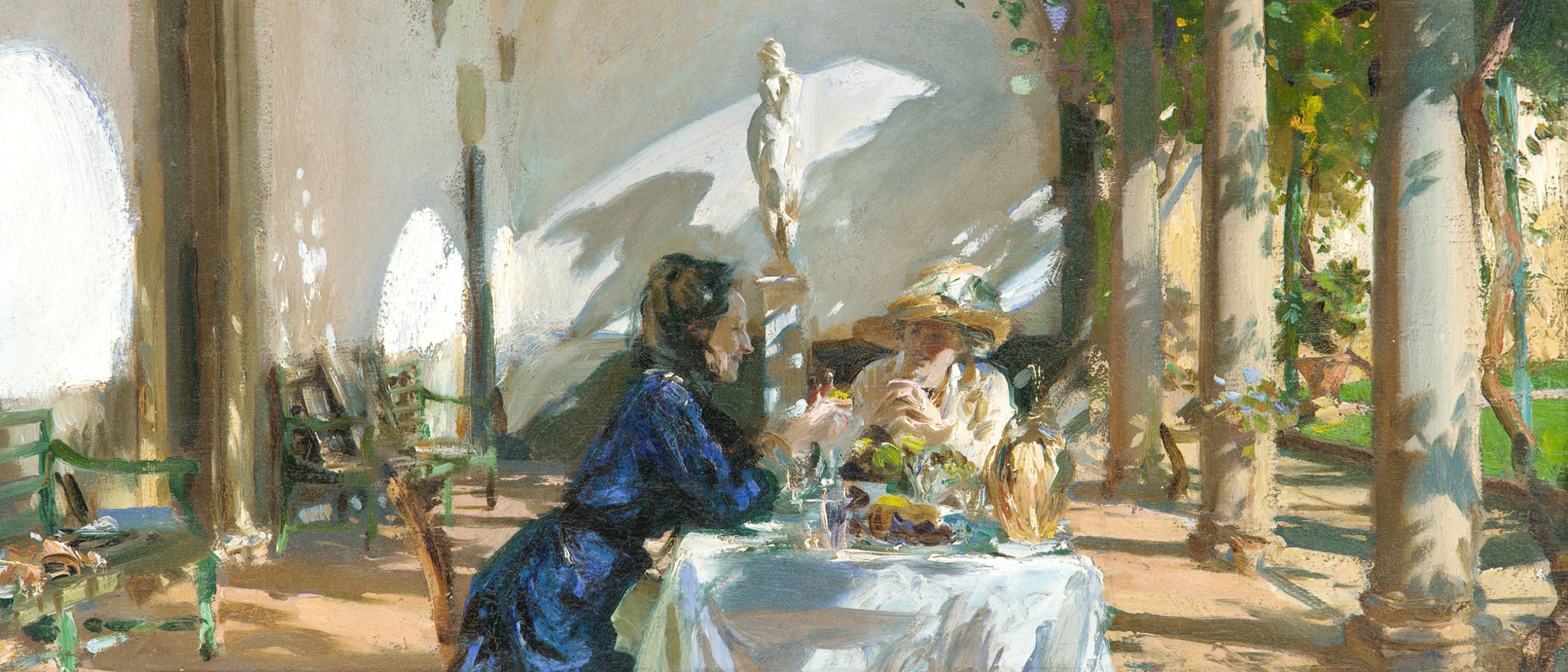 "A detail from the painting ""Breakfast in the Loggia"", two women sitting in the sunshine in the Freer courtyard"