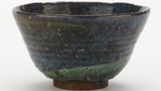 Detail image, Iga ware tea bowl; Tea bowl; Edo period or Meiji era, 19th century; Stoneware with white slip under cobalt- and copper-tinted clear glaze; Iga ware; Japan, Mie prefecture; Gift of Charles Lang Freer; Freer Gallery of Art F1900.93