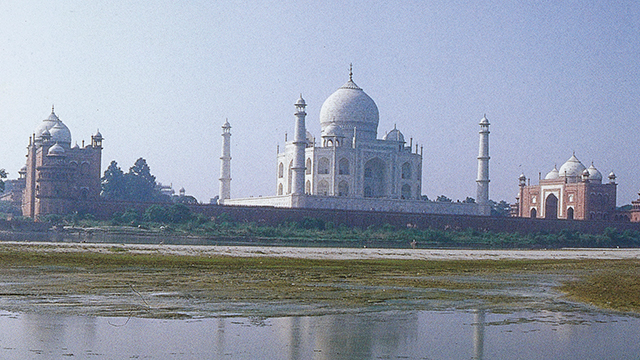 a distant view of the Taj Mahal