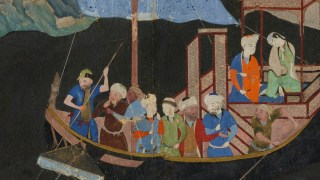 Image detail, Folio from a Khamsa (Quintet) by Amir Khusraw Dihlavi (d. 1325); The abduction by sea; Detached manuscript folio; Artist: Attributed to Kamal al-Din Bihzad (ca. 1467 - 1535); Timurid period, 1496; Opaque watercolor, ink, and gold on paper; Afghanistan, Herat; Purchase — Charles Lang Freer Endowment; Freer Gallery of Art F1937.27.