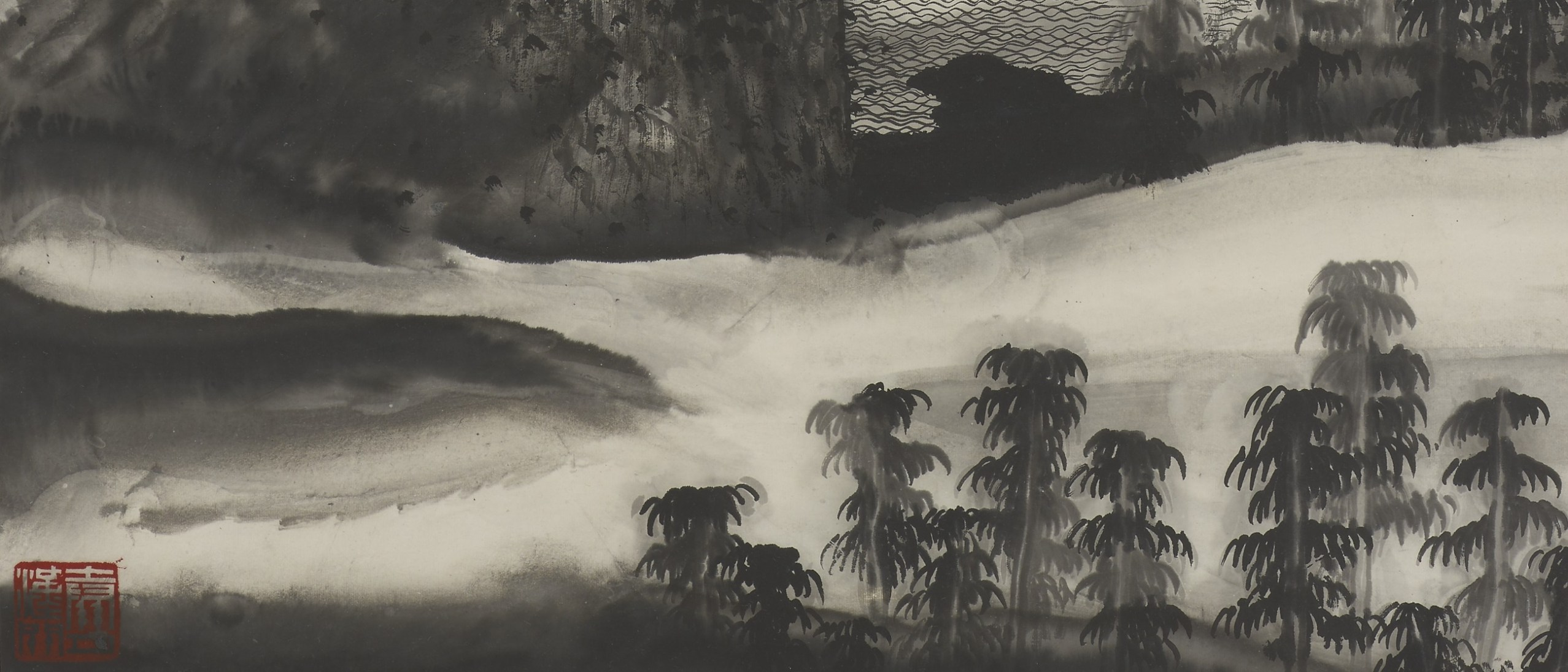 Detail photo of 現代 谷文達 《夜靜山空圖》 軸; Night is quiet and the mountains empty; Gu Wenda (b. 1955); China, Modern period, 1985; Hanging scroll; ink on paper; Gift of Ruth Kurzbauer in memory of Dr. Robert and Lisa Rales Kurzbauer and Dr. Marcus Jacobson; Arthur M. Sackler Gallery S2017.13