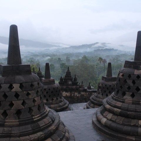 Misty sunrise at Candi Borobudur, Central Java