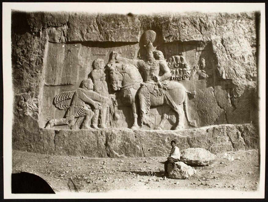 Stone cut relief depicting the Triumph of Shapur I over Valerian, and Middle Persian Inscription of the High Priest Kartir