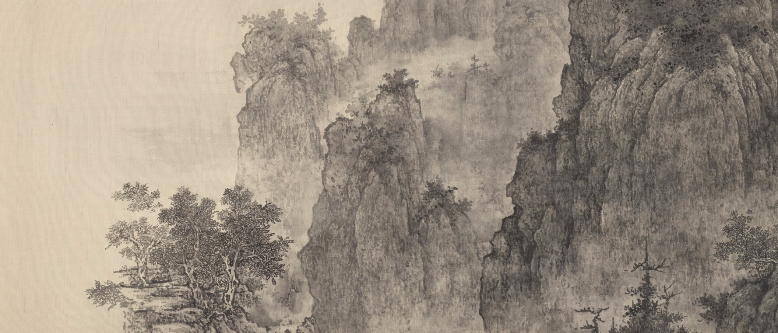 Detail photo of Autumn mountains, myriad miles; Tai Xiangzhou (b. 1968); China, Modern period, 2013; Horizontal format (framed); ink on silk; Gift of Shao F. and Cheryl L. Wang; Freer Gallery of Art S2017.9