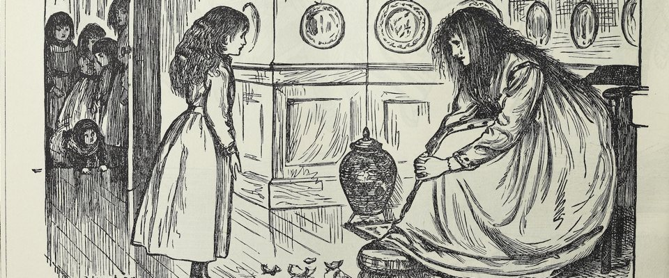A cartoon of a haggard woman looking across a vase at a girl, with many other children standing in the doorway looking on forelorn