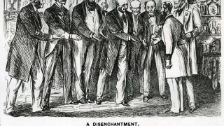 Six men hold out their hands for a handshake with another Victorian man
