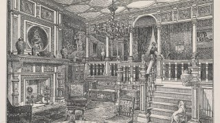 Drawing of a lavishly decorated hall