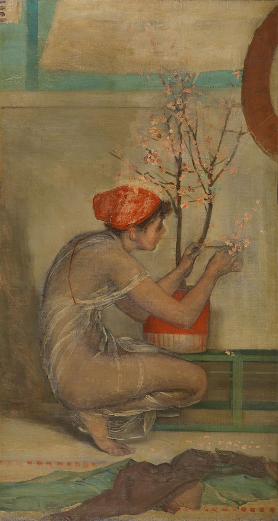 Rough painting of a woman in diaphanous dress and a red cap, arranging a cherry sapling with pink blossoms