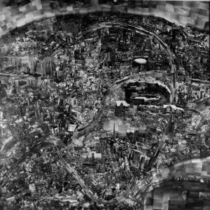 Black and white photo of a model of tokyo