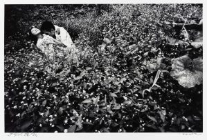 black and white photo of a man and a woman embracing in a field of flowers