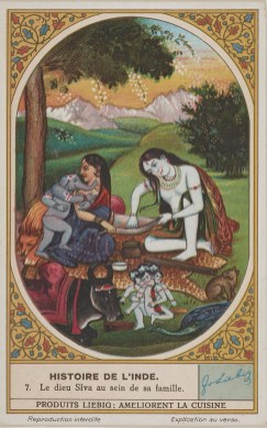 Scene of Shiva seated on a leopard skin beneath a tree with Parvati and baby Ganesha, with Nandi and other related figures and other related items nearby.