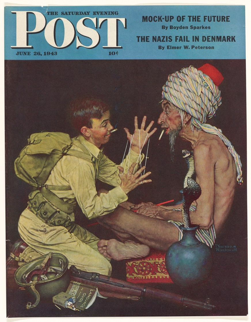 Cover of the Saturday Evening Post depicting a GI astounding an ascetic with cat's cradle.