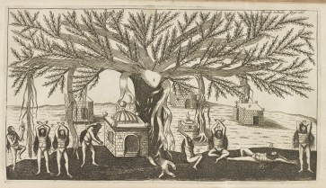 Engraved illustration of ascetics performing austerities underneath a banyan tree.