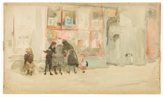 watercolor in muted tones of a group of children in front of a storefront window