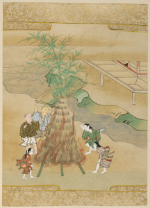 Japanese painting with five people dancing around bonfire