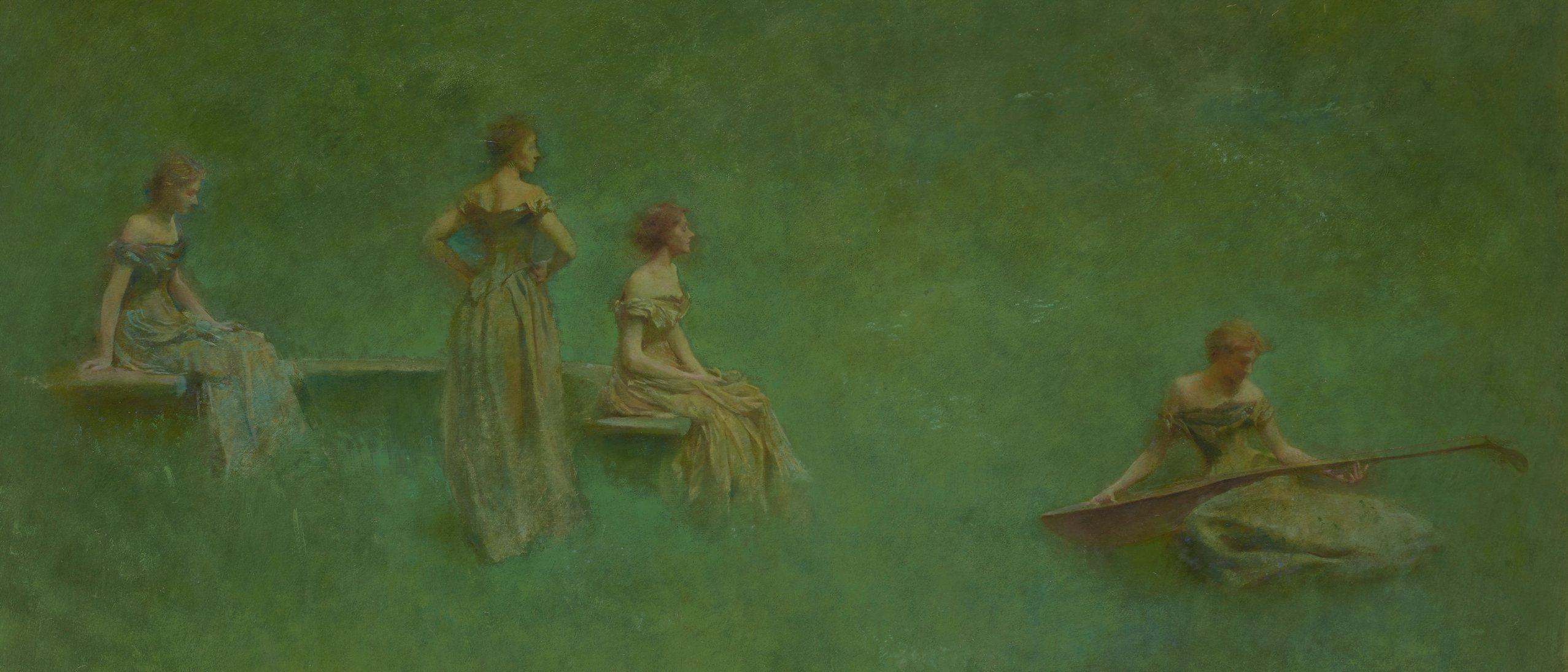 four women in gowns against a green background. two women are seated and one standing to the left. they are listening to the fourth women playing a stringed instrument on the right
