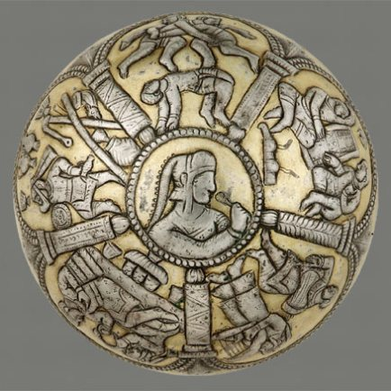 Bowl Iran of Afghanistan Sasanian period, 600–650 Silver and gilt Gift of Arthur M. Sackler, S1987.105 This bowl, made in Iran or Central Asia during the Sasanian period (224–651) depicts scenes from the life of the nobility. A man and woman grasp a wreath, a ritual that seems to signify the ceremonial observation of a marriage contract. The other scenes probably depict events that accompanied the celebration: a servant approaching the couple, a wrestling match, two people playing a board game, and musicians playing harp and drum. The couple and the servant are depicted with a variety of sumptuous vessels, including bowls on tall bases, ewers, and an animal-shaped drinking vessel.