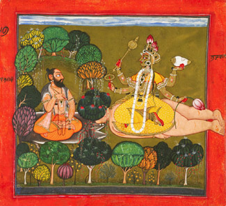 The Goddess Worshiped by the Sage Chyavana India, Punjab Hills, ca. 1660–70 Opaque watercolor, gold, silver, and beetlewing cases on paper 21.3 x 23.1 cm (8 1/2 x 9 in.) Purchase F1997.8