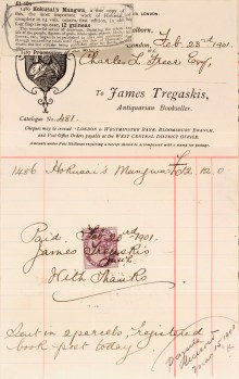 Freer's receipt of purchase of Hokusai manga from James Tregaskis