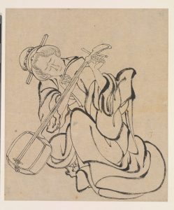 Japanese ink on paper drawing of a musician tuning a shamisen instrument, dating from the Edo period.
