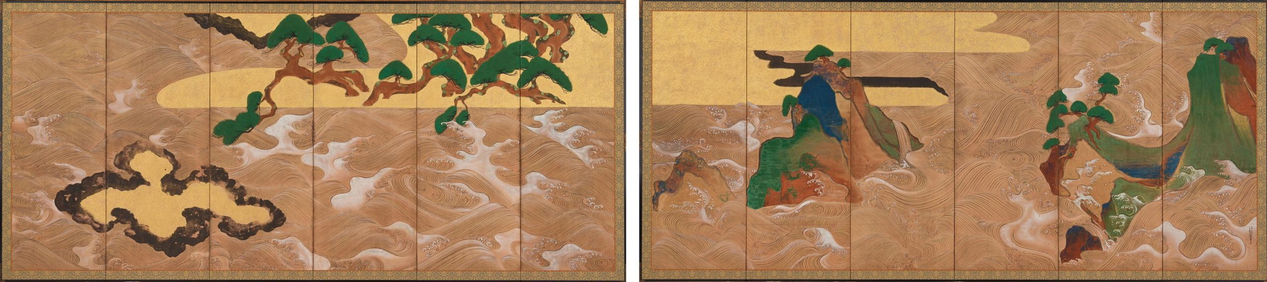 a pair of japanese screens, depicting waves, mountains, and trees