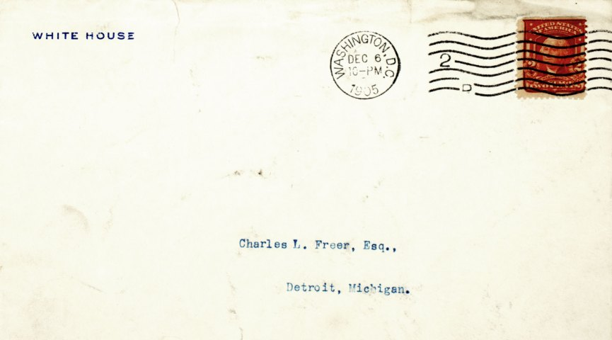 detail of an envelope, from the white house to charles lang freer