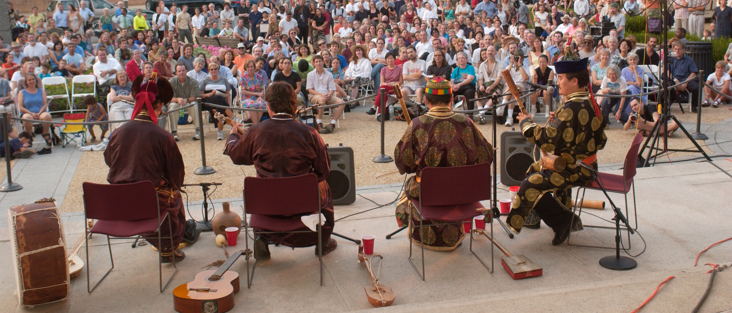 Virtuosos from the Siberian republic of Tuva sing on the steps of the Freer Gallery of Art in 2002.