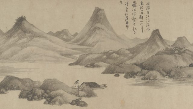 handscroll of chinese landscape of two fishermen