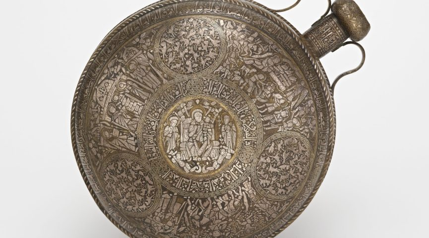 image of a metal canteen with inlaid silver