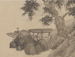 detail of a pen and ink illustration of a man in a boat under a tree