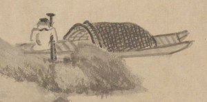detail of pen and ink illustration of a fisherman sleeping on a boat