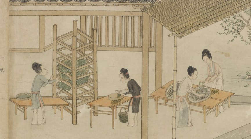 illustration of chinese women working in a home